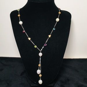 Brighton Necklace with Hearts, Gemstones, & Pearls